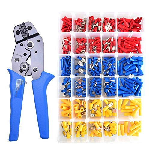 CNIKESIN 480Pcs Insulated Wire Terminals Connector Kit with Ratcheting Wire Terminal Crimper Stripper/Cutter Tool