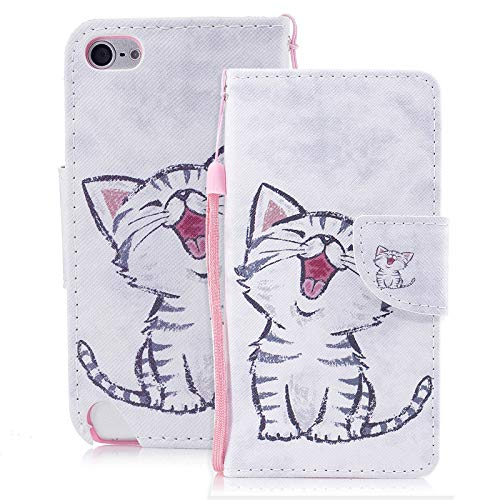 Ipod Touch Folio Case - iPod Touch 5th/6th Gen Case, Dteck Ultra Slim Premium PU Leather Flip Folio Kickstand Wallet Purse Credit Card Holders/Hand Strap Magnetic Cover for Apple iPod Touch 5 6, Happy Cat