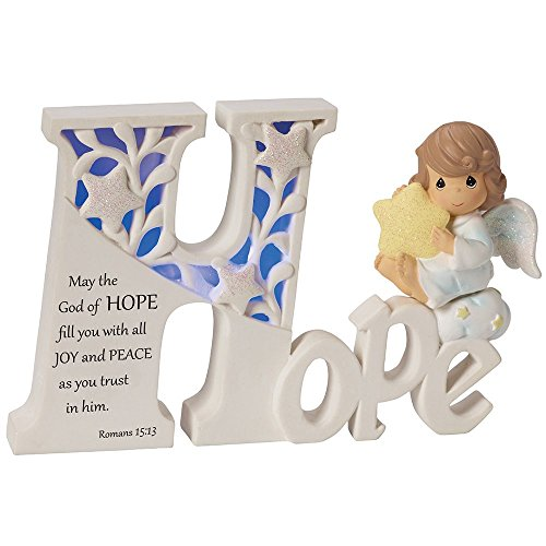 (Precious Moments, Hope LED Angel, Resin Collectible Sculpture, 153412)