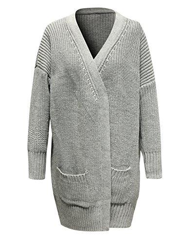 JOLLYCHIC Women's Open Front Long Sleeve Loose Knit Cardigan Sweater Gray - Knit Cardigan Black