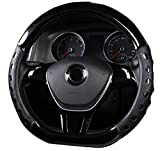Amuahua D-Shaped Genuine Leather Car Steering Wheel Cover Universal 15 inch/38CM Breathable for Auto/Truck/SUV/Van (Black)