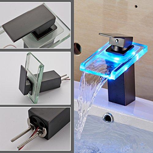 Auralum® Zeitgenössig Schwarz LED RGB Glas Mischbatterie Wasserhahn Armatur Wasserfall für Bad Badezimmer Spüle Waschtisch Waschtischarmatur Küchen