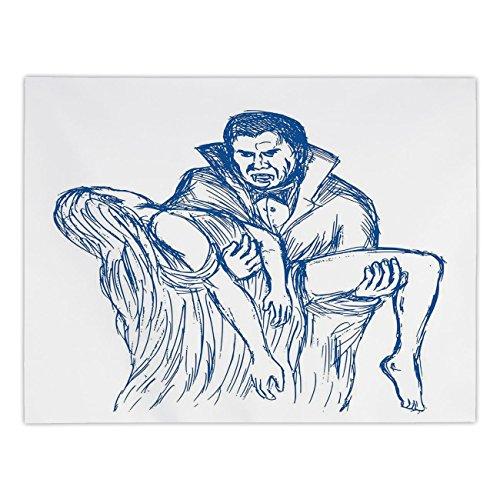 Rectangular Satin Tablecloth,Vampire,Count Dracula in Cape Carrying His Prey Victim Woman Sketchy Halloween Artwork,Blue and White,Dining Room Kitchen Table Cloth Cover]()
