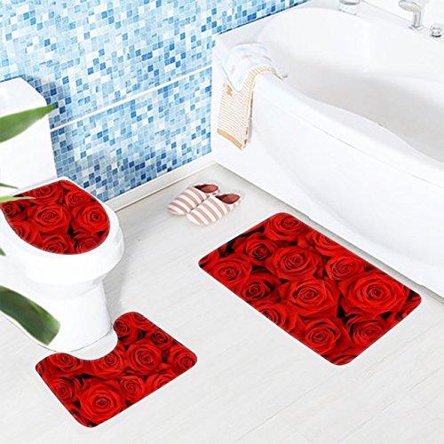 1 Set  Red Rose Flowers Rug Bathmats Toddler No Slip Texture