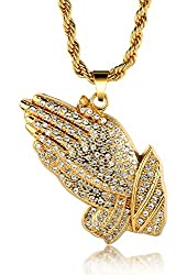 "Halukakah® 18k Real Gold Plated ""PRAYER"" Hand Pendant Necklace,Cz Inlay,with FREE Rope Chain 30"""