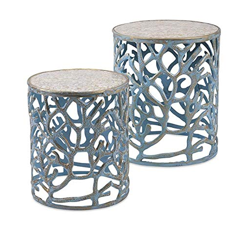 Imax 60336-2 Coral Mother of Pearl Tables, Set of - Of Mother Desk Pearl