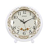HAOFAY Desktop Clock, Non-Ticking, European Style Living Room White Desk Clock, Bedroom Bedside Battery Powered Quartz Clock