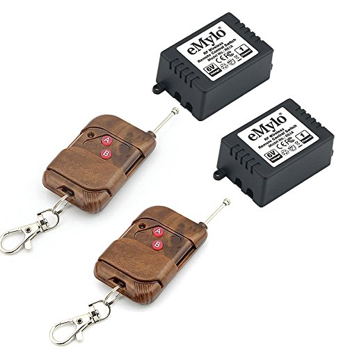 eMylo DC 6V 2x 1 Channel 433Mhz Smart Wireless Remote Control Light Switch RF Relay 2pcs Transmitter with Receiver