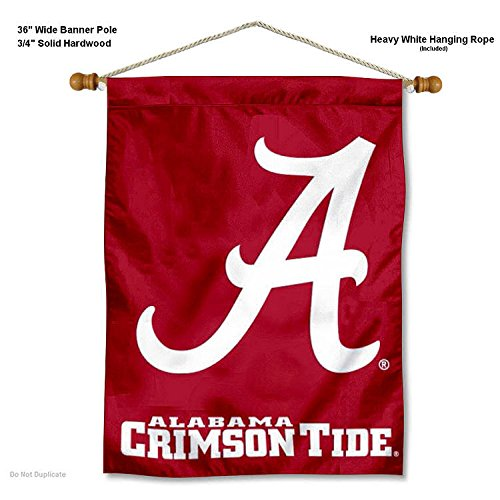 Alabama Crimson Tide A Logo Banner with Hanging Pole