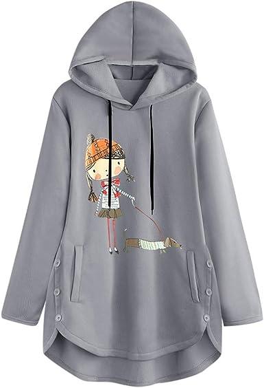 Vectry Camisa Mujer Mujeres Sudadera con Capucha Estampada De Manga Larga Sudadera con Capucha Top Blusa Camisa Otoño Verano Playa Y Fiesta: Amazon.es: Ropa y accesorios
