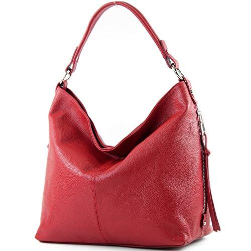 modamoda de - ital. Ledertasche Shopper Damentasche Bürotasche Schultertasche Leder T160 Kirschrot