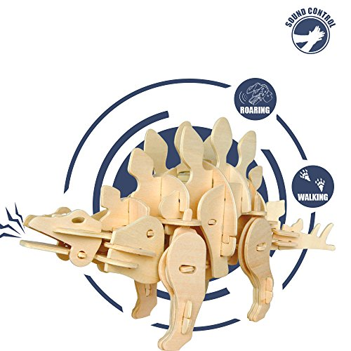 (ROKR Dinosaur Wooden Puzzle- Sound Controlled Model Kit-Building Crafts Set- Birthday for Kids and Adults)