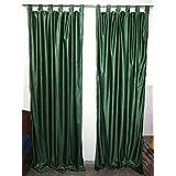 "Mogul Indian Sari Curtain / Drape / Panel Solid Green Pair Window Treatment Ideas (Length: 96"")"