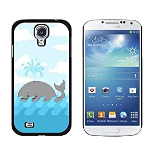 New style Cartoon Whale Ocean Snap-On Hard Protective Case for Samsung Galaxy S4 - Non-Retail Packaging - Black