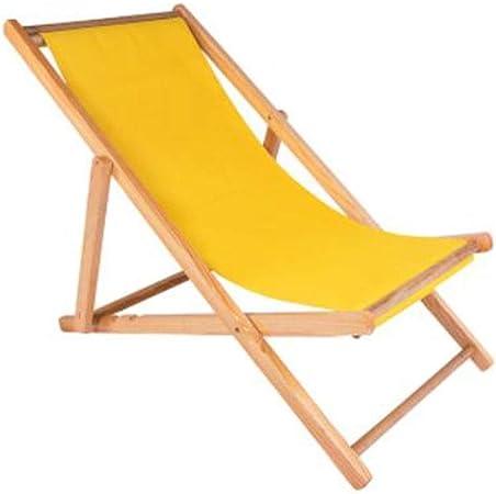 WXF Tumbona de Jardín Al Aire Libre, Tumbona Plegable de Madera Siesta Chaise Longue Silla Plegable Reclinable Balcón Playa (Color : Yellow): Amazon.es: Hogar