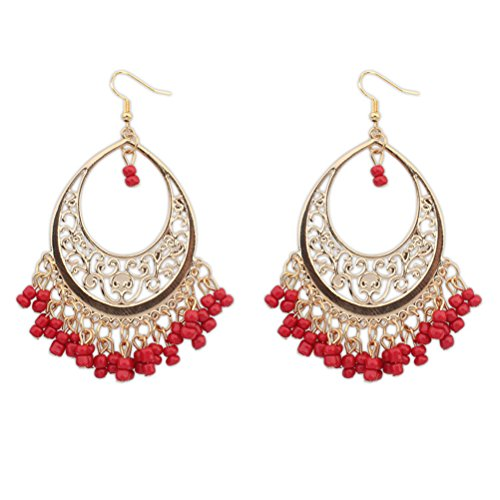 SunIfSnow Bohemian Hollow Oval Multiple Red Beads Earrings