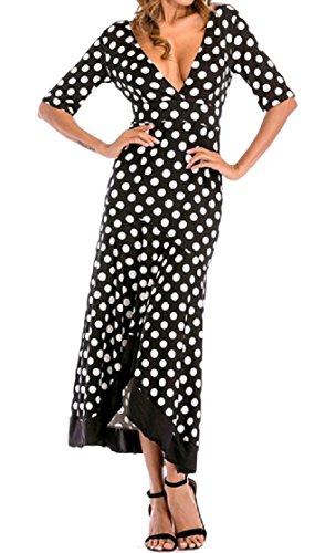 Coolred-femmes Slim Fit Couper L'arrière Moitié Manches Robe Maxi Rétro Noir + Blanc