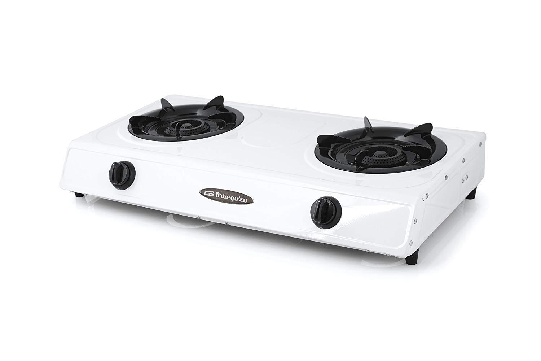 ElectrodomesticosN1 Pack Hornillo a Gas Orbegozo fo 2600 Blanco, 2 Fuegos + Regulador de Gas butano HVG, Tubo Manguera 1, 5 Metros, Abrazaderas: Amazon.es: ...
