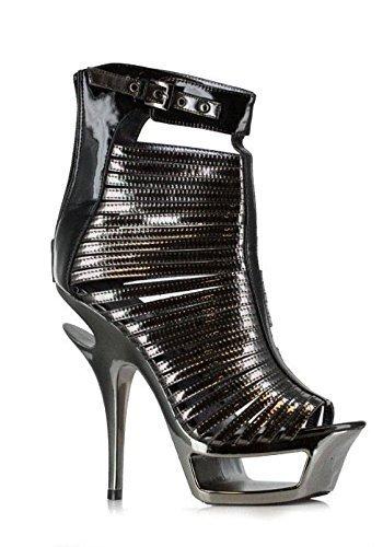 Ellie Shoes 6 Inch Metallic Cut Out Heel (Black;5) ()
