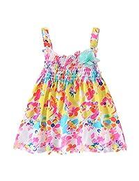 LittleSpring Baby Girls' Dress Summer Colorful Flower