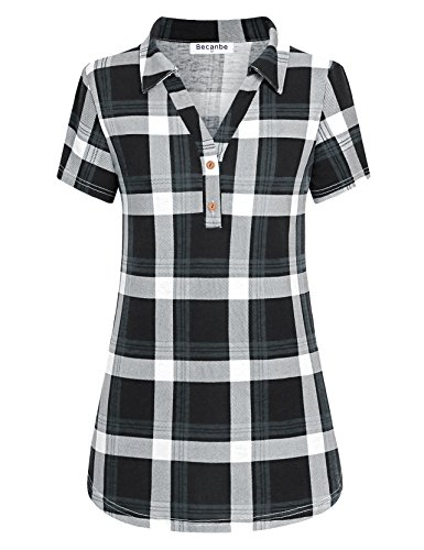 (Becanbe Polo Shirts for Women, Ladies Label V Collared Plaid Tees Short Sleeve Button Down Blouses for Work Prime Plus Size Causal Loose Pleats Tunic Tops(Grey,Large))