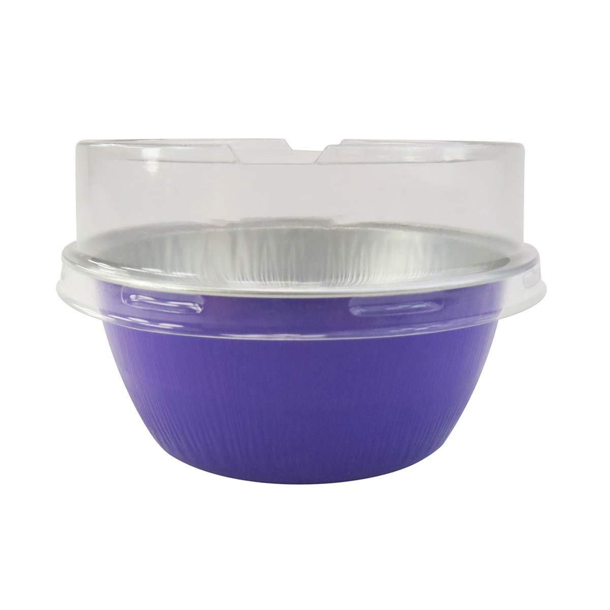 KitchenDance Disposable Aluminum Colored Baking Cups- Creme Brulee cups- Dessert Cups- 4 oz. Size with Lids (100, Purple w/Stackable Lid)
