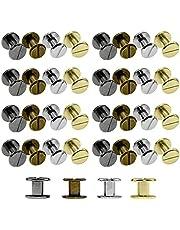 Tucireat klinknagels, 80 paar klinknagels, leer, metaal, staal, klinknagels, metalen schroeven, universele knop voor leer, klinknagels van metaal, voor handwerk (4 x 6 mm)
