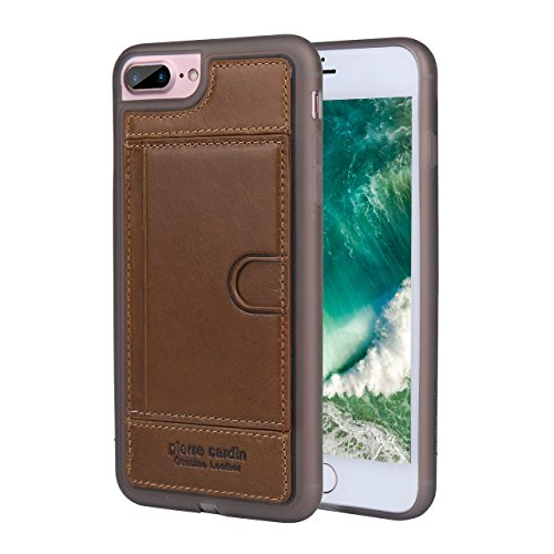 (Pierre Cardin Slim Fit Rubber Silicone Cover Genuine Leather Kickstand Case with Credit Card Slot for Apple iPhone 7 Plus&iPhone 8 Plus (Brown))