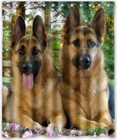 Beautiful Misunderstanding Cute Pet German Shepherd Dog Pictures Themeunique 100% Polyester Shower Curtain Bath Curtain 66X72 Inch