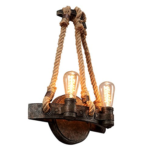 LightInTheBox Rope Wall Sconce Light Vintage Metal Wall Lamp Rustic Edison Bulb Hanging Lighting Fixture 2 Lights Loft Style Lights for Hotel Living Room S521759100005##wh=7
