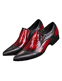US Size 5-12 Vintage Red Leather Mens Dress Slip On Pointed Toe Loafers Shoes