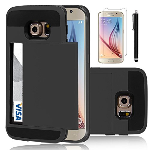 Elegant Choise Compatible with Galaxy S6 Case, Samsung Galaxy S6 Wallet Case, Hybrid High Impact Resistant Protective Shockproof Hard Shell with Card Holder Slot Cover Compatible for Samsung S6(Black)