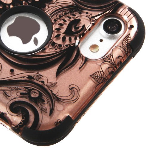 For iPhone 7 / 8 Case, Kaleidio [TUFF] Rugged Shockproof Hybrid 3-Piece Dual Layer Protective Armor Cover for Apple iPhone 8 / 7 [Includes a Overbrawn Prying Tool] [Rose Gold Paisley Design]