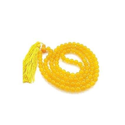 Amazon Com Indian Handicrafts Export Yellow Agate Hakik Mala For
