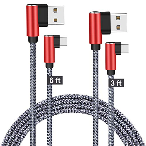 90 Degree Type C Cable, JCORD USB C Charger Fast Charging 6.6ft 3ft 2 Pack Durable Braided Armor Cord for Samsung Galaxy S9 Note 9 8 S8 Plus, Google Pixel XL 2 3, LG G7 V20, OnePlus 5t (Red Grey)