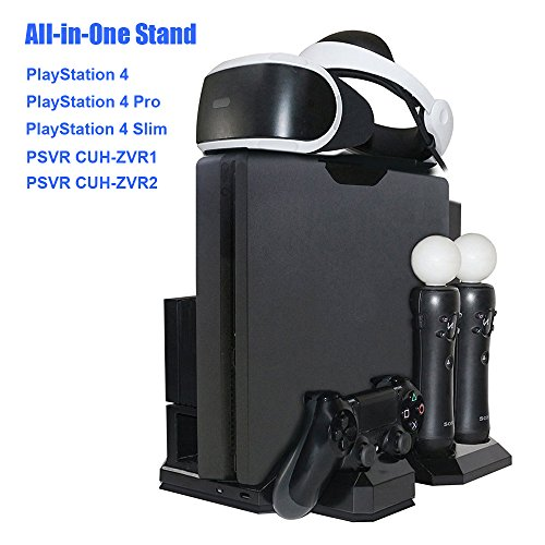 Cheap Charger & Vertical Display Stand – Multi Charging Station, Cooling Fan Cooler, PSVR Glasses Holder Bracket for PlayStation PS VR Headset, PS4, Pro, Slim Console, DualShock 4 & Move Motion Controller
