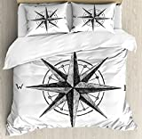 Ambesonne Compass Duvet Cover Set King Size, Seamanship Hand Drawn Windrose with Complete Directions North South West, Decorative 3 Piece Bedding Set with 2 Pillow Shams, Charcoal Grey White
