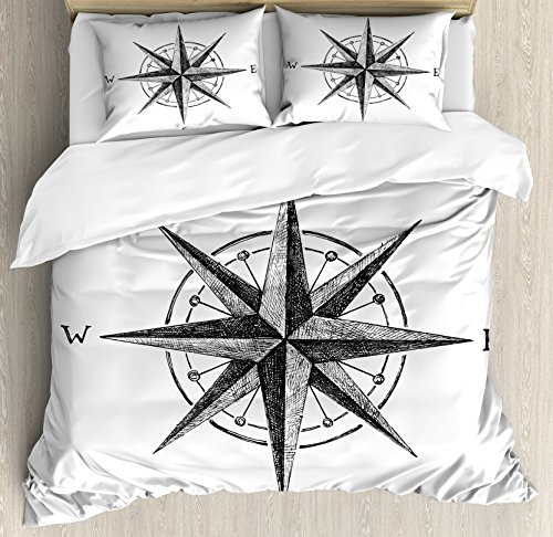Compass Room Decor Complete - Ambesonne Compass Duvet Cover Set Queen Size, Seamanship Hand Drawn Windrose with Complete Directions North South West, Decorative 3 Piece Bedding Set with 2 Pillow Shams, Charcoal Grey White