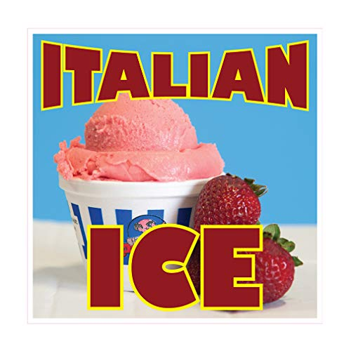 Die-Cut Sticker Multiple Sizes Italian Ice Style H Restaurant & Food Italian Ice Indoor Decal Concession Sign red - 18in Longest Side