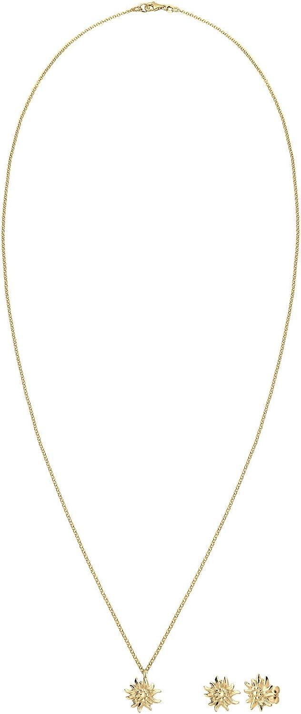 Elli Women Oktoberfest Edelweiss 925 Silver Gold Plated Jewelry Set
