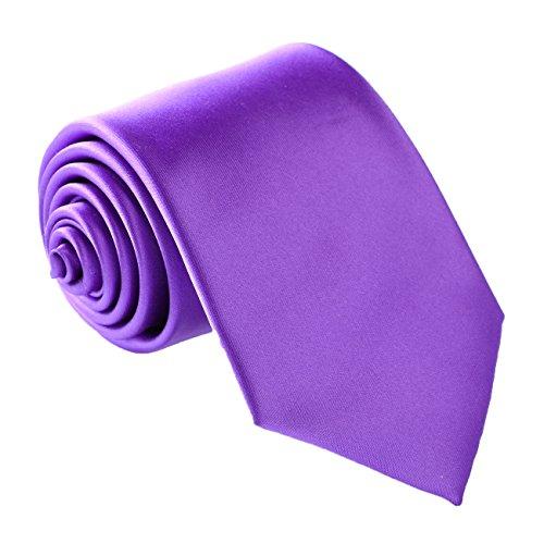 Fortunatever Men's Handmade Tie,Classical Solid Necktie With Gift Box (Violet) ()