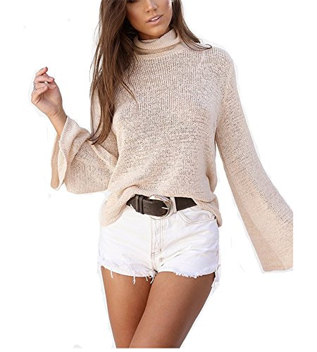 Women Turtleneck Long Sleeve Criss Cross Backless Knitted Jumper Sweater Pullover Tops(Pink,S)