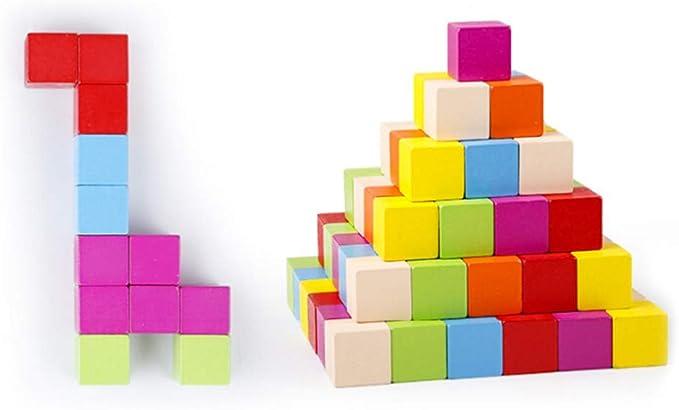 TOYANDONA 100 Pezzi Cubi di Legno Colorati Impilabili Piccoli Blocchi di Legno Quadrati Giocattolo Educativo per Bambini Che Imparano Le Prime Abilit/à Matematiche Fai da Te 3 Cm