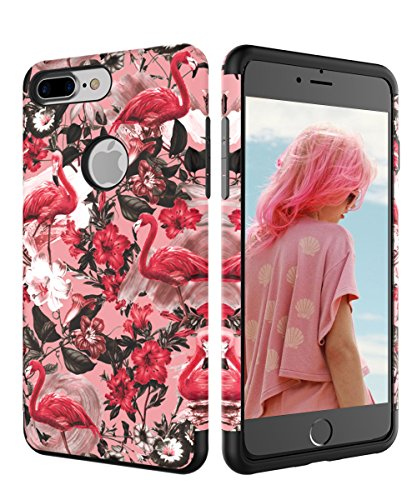 iPhone 7 Plus Case BetonShop Dual Layer Slim Cute Design Print Case For Girls Women Shockproof Non-fingerprint Anti-Scratches Resistant Cover For Apple iPhone 7 Plus (5.5inch),Pink Flamingo (Solve 24/7 Healthy)