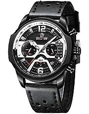 Orologio da uomo al quarzo, analogico, in pelle, cronografo, impermeabile, sportivo, militare, con data, 24 ore, multifunzione