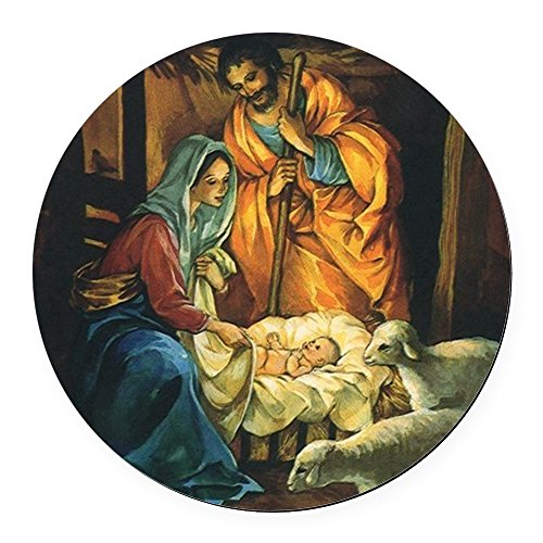 - CafePress Vintage Christmas Nativity Round Car Magnet, Magnetic Bumper Sticker