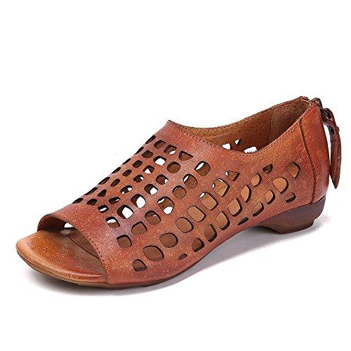 Femme Sandales XIAOQI Nouveau Zipper en Creux Côté Cuir Chaussures Sandales D'été Ouverte À Brown1 avec Boucle Manuel P1qPf6
