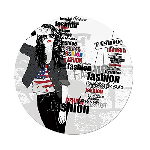 - iPrint Polyester Round Tablecloth,Fashion House Decor,A Modern Girl with USA Flag Tshirt Colorful Thema Beauty in Street,Black White,Dining Room Kitchen Picnic Table Cloth Cover,for Outdoor Indoor