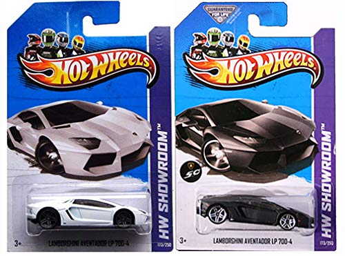 Aventador Hot Wheels Set of 2 Variations/Colors: Black & White Lamborghinis 1:64 Scale Collectible Die Cast Cars