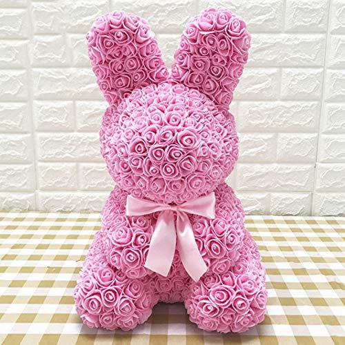 (Goodjobb Rose Rabbit Forever Artificial Rose Gift for Anniversary Valentines Wedding,Pink)